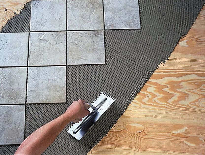 Облицовка деревянной поверхности керамической плиткой